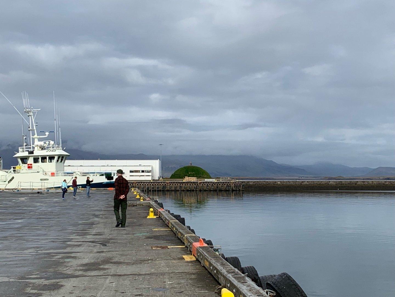 GM Stevenson, seen from behind, walking on the docks in Reykjavik. Sea, cloudy sky, boat